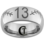 8mm Dome Tungsten Carbide Baseball Stich And Number Design