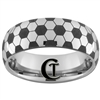 8mm Dome Tungsten Carbide Soccer Design Ring