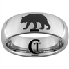 8mm Dome Tungsten Carbide Grizzly Bear Sillouhette Design