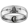 8mm Dome Tungsten Carbide Don't Tread On Me Barb Wire Design