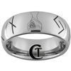 8mm Tungsten Carbide Dome Runes Design Ring