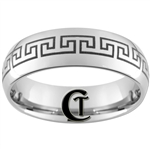 8mm Dome Tungsten Carbide Greek Key Design