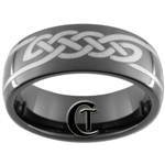 8mm Black Dome Tungsten Carbide Celtic Design
