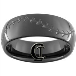 8mm Black Dome Tungsten Carbide Baseball Stich Design