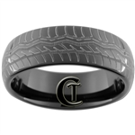 8mm Black Dome Tungsten Carbide Tire Tread Design Ring