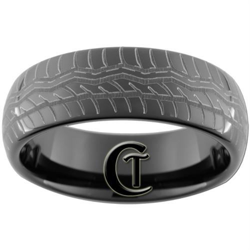 8mm Black Dome Tungsten Carbide Tire Tread Design Ring