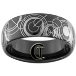 8mm Black Dome Tungsten Carbide Doctor Who Design