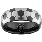 8mm Black Dome Tungsten Carbide Soccer Design Ring