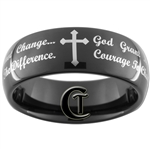 8mm Black Dome Tungsten Carbide Cross and Lord's Prayer Design