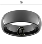 8mm Black Dome Tungsten Carbide Spider-Man Design Ring
