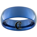 8mm Blue Dome Tungsten Carbide Ring