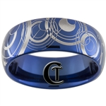 8mm Blue Dome Tungsten Carbide Doctor Who Design