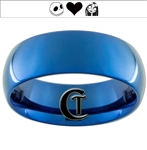 8mm Blue Dome Tungsten Carbide Jack and Sally Design Ring