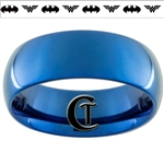 8mm Blue Dome Tungsten Carbide Custom Design Ring