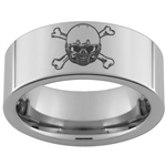 8mm Pipe Tungsten Carbide Skull and Crossbones Football Design