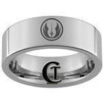 8mm Pipe Tungsten Carbide Star Wars Jedi Design