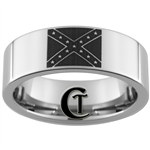 8mm Pipe Tungsten Carbide Confederate Flag Design