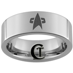 8mm Pipe Tungsten Carbide Star Trek Design