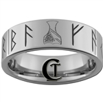 8mm Tungsten Carbide Pipe Runes Tattoo Design Ring