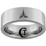 8mm Pipe Tungsten Carbide Star Trek Klingon Design