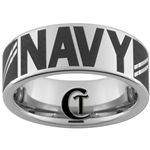 8mm Pipe Tungsten Carbide NAVY Seaman Apprentice Rank Design.