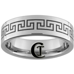 8mm Pipe Tungsten Carbide Greek Key Design