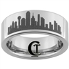 8mm Pipe Tungsten Carbide Dallas Skyline Design Satin Finish