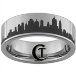 8mm Pipe Tungsten Carbide Lasered New York Skyline Design