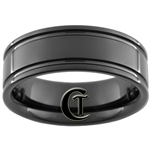 8mm Black Pipe Two Groove Tungsten Carbide Ring
