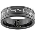 8mm Black Pipe 2-Grooved Tungsten Carbide Heart EKG Design