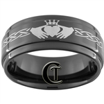 9mm 1 Step Black Pipe Tungsten Carbide Claddagh Celtic Ring Design