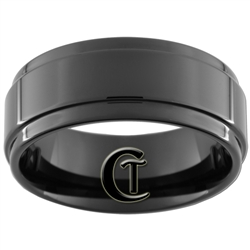 9mm Black 1 Step Pipe Tungsten Carbide Ring