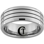 9mm Beveled 3 Enameled Grooves Tungsten Carbide Ring