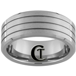 9mm Beveled 3 Groove Satin Finish Tungsten Carbide Ring
