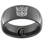 9mm Black Dome Tungsten Carbide Transformers Decepticon Design