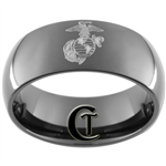 9mm Black Dome Tungsten Carbide Marines Design
