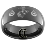 9mm Black Dome Tungsten Carbide Marines Corporal Design Ring.