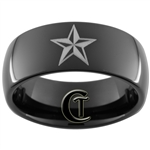 9mm Black Dome Tungsten Carbide Nautical Star Design