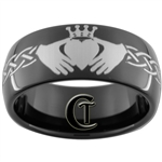 9mm Black Dome Tungsten Carbide Claddagh Celtic Ring Design
