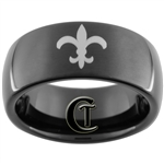 9mm Black Dome Tungsten Carbide Fleur De Lis Celtic Design