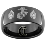 9mm Black Dome Tungsten Carbide comfort fit Marines Staff Sergeant Design.