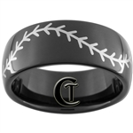 9mm Black Dome Tungsten Carbide Baseball Stitch Design Ring