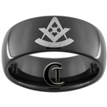 9mm Black Dome Tungsten Carbide Masonic Design