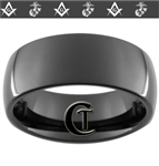 9mm Black Dome Tungsten Carbide Marines Master Mason Design.