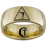 9mm Gold Dome Tungsten Carbide Masonic Yod Design