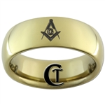 9mm Gold Dome Tungsten Carbide Masonic Design