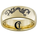 9mm 14Kt Gold Plated Dome Tungsten Carbide Dragon Design Ring.