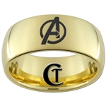 9mm Gold Dome Tungsten Carbide Avengers Design