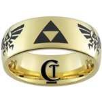 9mm Gold Dome Tungsten Carbide Legend Of Zelda Design