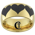 9mm Gold Dome Tungsten Carbide Heart Design